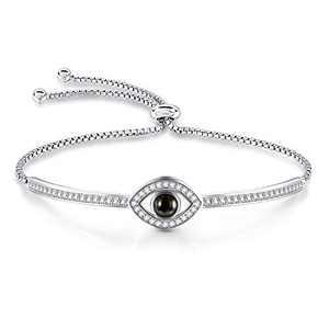 GEORGE · SMITH Sliver Tone Evil Eye Bangle Bracelet 100 Languages I Love You Bracelet Mother's Day Gifts for Mom Women