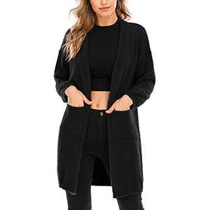 Aojo Women's Long Sleeve Open Front Cardigans Sweaters Casual Chunky Knit Plush Coat Outwear with Pockets Black