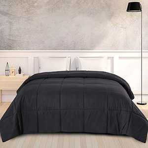 DOWNCOOL Down Alternative Quilted Comforter-Black Lightweight Duvet Insert or Stand-Alone Comforter with Corner Duvet Tabs,Cal-King 104x96 Inches