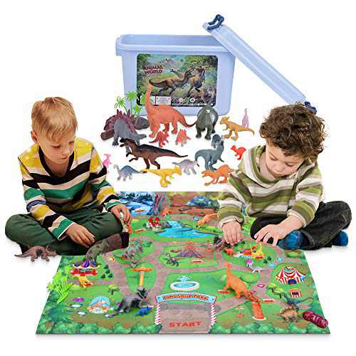 Lekebaby Dinosaur Playset with 30 Realistic Dinosaur Figures to Create a Dino World Including T-Rex, Velociraptor etc - Great Educational Dinosaur Toys for 3,4,5,6 Years Old Boys & Girls