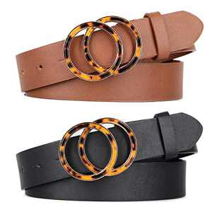 2 Pack Fashion Double O Ring Women Belts for Jeans, Circle Buckle and Pu Faux Leather