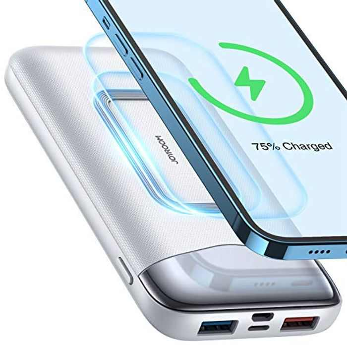 EdorReco 10W wireless power bank, Joyroom 10000 Portable Charger with 18W PowerIQ Technology and USB-C, High-Capacity Battery Pack Compatible with iPhone, Samsung, Huawei, iPad, and More. white
