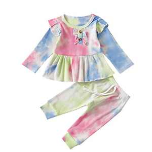 Toddler Baby Girls Tie Dye Knitted Ruffle Tunic Dress Top Leggings Pants 2PC Fall Winter Ribbed Outfit Set Clothes (A-Pink Blue Green, 2-3T)