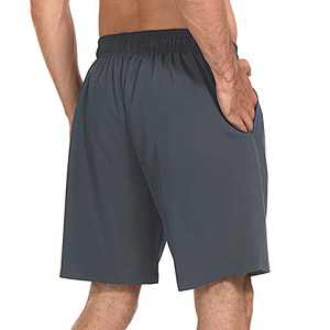 """M MOTEEPI Mens 8"""" Lined Athletic Running Shorts with Pockets Quick Dry Active Workout Fitness Shorts Gray L"""