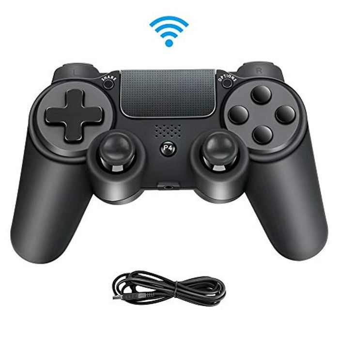 Controller for Playstation 4, Maxjaa Bluetooth Game Controller Joystick for Playstation 4 with Dual Vibration, Touch Pad, 6-axis Gyro Sensor, USB Cable for Playstation4/ Slim/ Pro/ PC(Black)