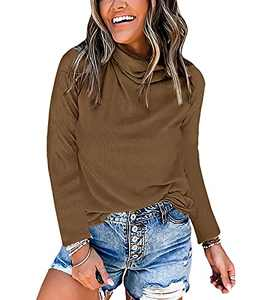Jeanewpole1 Women's Turtleneck Mask Knitted T-Shirts Long Sleeve Casual Pure Tops Camel