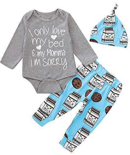 Dramiposs Baby Boy Letter Printed Clothes Set Newborn Funny Bodysuit with Hat (Gray01,3-6 Months)