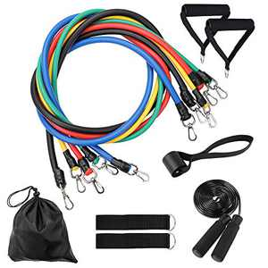 TOMSHOO Resistance Bands Set 12pcs, Exercise Workout Bands Sets with 5 Stackable Resistance Bands,Handles,Door Anchor,Ankle Straps,Skipping Rope,Waterproof Carry Bag for Outdoor Gym Home Training Yoga