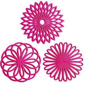 Boxiki Kitchen Silicone Trivet Mat | Trivets for Hot Dishes | Silicone Pads | Silicone Trivets | Silicone Microwave Mats | Pot Mat | Mexican Wall Decor (Pink)