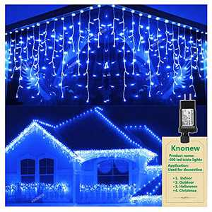 KNONEW LED Icicle Lights, 400 LEDs, 32ft, 8 Modes, Curtain Fairy Light with 75 Drops, Clear Wire LED String Decor for Christmas/Thanksgiving/Easter/Halloween/Party Backdrops Decorations (Blue)