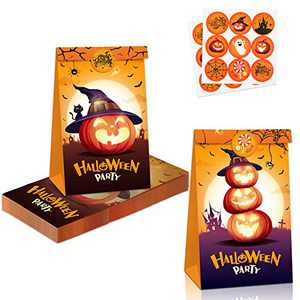 Halloween Treat Bags Party Favors - 12 Pcs Halloween Goodie Bags for Trick or Treating + 18 Pcs Halloween Stickers,Medium Size Durable Kraft Paper Bags for Snacks, Halloween Gift Bags Party Supplies