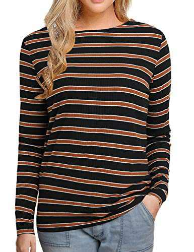 Sofia's Choice Women's Multi Striped Long Sleeve Shirt Round Neck Cotton Causal Tops Brwon Striped L
