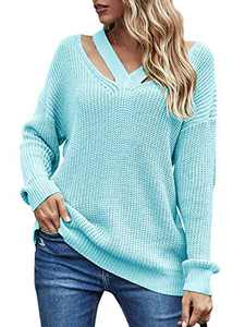 WONETA Womens V Neck Cutout Chunky Rib Knit Cold Shoulder Sweaters Soft Oversized Kint Pullover Jumper Tops A247-tianlan-M