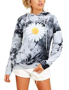 Sofia's Choice Women's Tie Dye Graphic Sweatshirt Long Sleeve Casual Pullover Drawstring Hoodies Black sun flower S