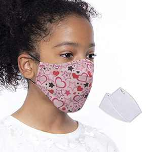 Kids Face Mask, Washable Face Cover with Activated Carbon PM2.5 Filter, Reusable Face Protect Coverings, Face Bandanas with Adjustable Ears Loop for Boys and Girls (Pink)