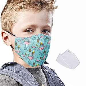 Kids Face Mask, Washable Face Cover with Activated Carbon PM2.5 Filter, Reusable Face Protect Coverings, Face Bandanas with Adjustable Ears Loop for Boys and Girls (Green)