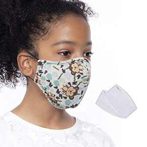 Kids Face Mask, Washable Face Cover with Activated Carbon PM2.5 Filter, Reusable Face Protect Coverings, Face Bandanas with Adjustable Ears Loop for Boys and Girls (White)