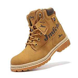 Boys Hiking Boots Kids Hiking Shoes Girls Outdoor Warm Winter Snow Boots Adventure Trekking Shoes Anti-skid Sneakers Steel Buckle Durable Comfortable Yellow Size 1.5