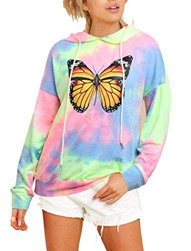 Sofia's Choice Women's Tie Dye Graphic Sweatshirt Long Sleeve Casual Pullover Drawstring Hoodies Yellow butterfly M