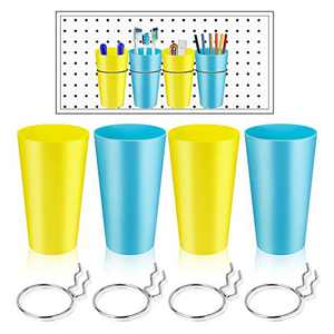 4 Sets Pegboard Bins kit with Hooks, Qfun Ring Style Pegboard Hooks with Pegboard Accessories Cup Holder Organizer Baskets for Home Office Use
