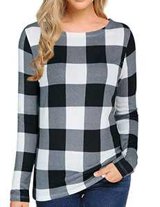 Sofia's Choice Women's Multi Striped Long Sleeve Shirt Round Neck Cotton Causal Tops Black Plaid S