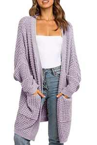TARSE Womens Long Cardigans Waffle Oversized Open Front Knit Sweater with Pockets, Bat Sleeves, Purple, S