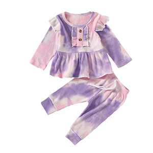 Toddler Baby Girls Tie Dye Knitted Ruffle Tunic Dress Top Leggings Pants 2PC Fall Winter Ribbed Outfit Set Clothes (A-Purple Pink, 18-24M)