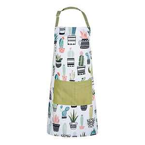 Stacy Fay Bib Apron Cactus Adjustable Extra Long Ties for Women, Men, Chef, Kitchen, Home, Restaurant, Cafe, Cooking, Baking, Gardening, Cute Green Potted Plants Funny Design (White-Muti)