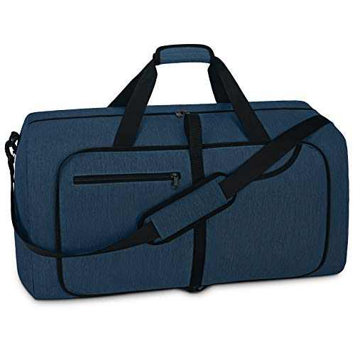 Travel Duffel Bag 40L Foldable Weekender Overnight Bags for Men Women Waterproof Sports Gym Bag with Shoes Compartment Holdall Weekend Bag Blue