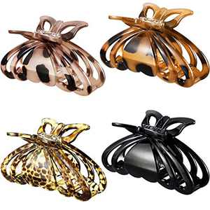 4 Pieces Hair Claw Clips Tortoise Shell Plastic Hair Claw Leopard Print Strong Hold Hair Clips Thick Hair Claw Clamps French Design Hair Jaw Clamp for Women Girls