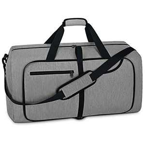 Travel Duffel Bag 40L Foldable Weekender Overnight Bags for Men Women Waterproof Sports Gym Bag with Shoes Compartment Holdall Weekend Bag Grey