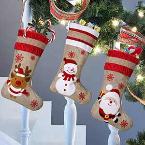Imoislab Christmas Stocking,Big Xmas Stockings Decoration,Santa Snowman Reindeer Stocking Christmas Decorations and Party Accessory Set of 3