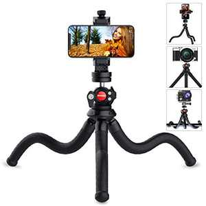 Phone Tripod Stand, Anozer Camera Stand with Universal Clip & Cold Shoe Mount, 360° Rotatable Mini Tripod Compatible with iPhone, Android Phone, GoPro, SLR Sports Camera