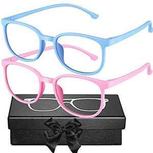 Blue Light Blocking Glasses for Kids 2 Pack, Flexible Silicone Computer Gaming Glasses Anti Blue Ray & Eye Strain for Boys Girls Age 3-10