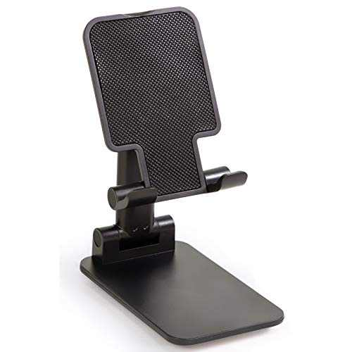 Cell Phone Stand with 2pcs Random Stickers, Taco amy Angle Height Adjustable Phone Holder for Desk, Fully Foldable, Compatible with All Mobile Phones, iPad/Kindle/Tablet/Tabs (Black)