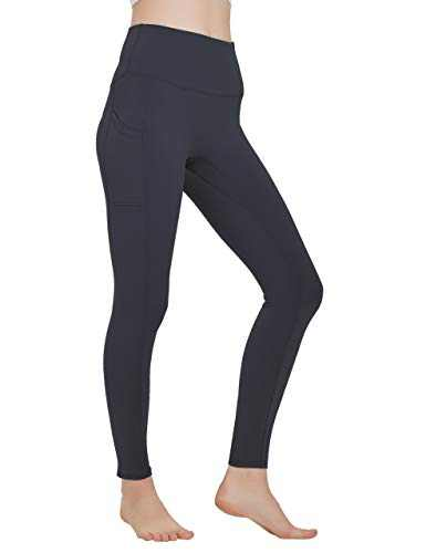 High Waisted Workout Yoga Pants Athletic Running Tummy Control Leggings with Pockets for Women Deep Grey-M