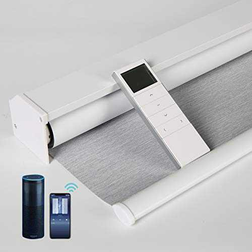VIDEMA Motorized Roller Shade 100% Blackout Remote Control Shade Wireless Rechargeable Auto Blinds with Valance Customized Size Work with Alexa Siri for Home, Office (Striped Grey, Ordinary)