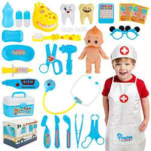 Hapgo Kids Doctor Kit 29 Pieces Pretend Play Doctor Toys Set, Dentist Medical Kits with Electronic Stethoscope and Doctor Role Play Costume Dress-Up for Toddler Girls Boys Age 3 4 5 6 7 8