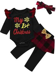 Mutiggee Baby Girl My First Christmas Bodysuit Toddler Xmas Gift Clothing Sets (Red01,12-18 Months)