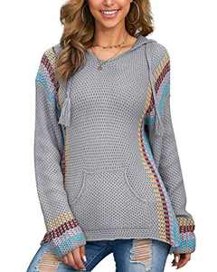 Hiistandd Women's Casual Hoodies Sweater Long Sleeve Hooded Pullover … Gray