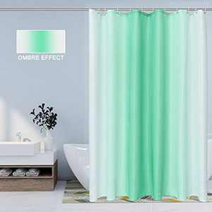 BERMINO Ombre Textured Fabric Shower Curtain for Bathroom, 70 x 84 inch, Light Green - Waterproof Cloth Gradient Bath Curtains with 12 Hooks