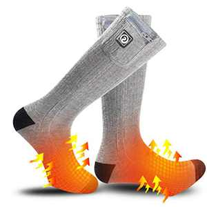 Heated Socks for Men Women,7.4V 2200mah Electric Rechargeable Battery Warm Winter Socks,Cold Weather Thermal Heating Socks Foot Warmers for Hunting Skiing Camping (Gray, Small)