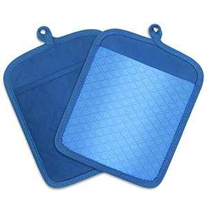 FWIEXA Kitchen Pocket Pot Holders (Set of 2) , Heat Resistance Silicone and Cotton Potholders, Non Slip Kitchen Hot Pad for Cooking and Baking, Multifunctional Kitchen Oven Mitts (Blue)