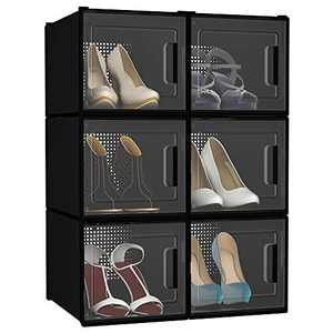 YITAHOME High Heel Shoe Box, Set of 6 Shoe Storage Organizers Stackable Shoe Storage Box Rack Clear Drawer-Black