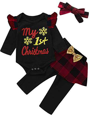 Mutiggee Baby Girl My First Christmas Bodysuit Toddler Xmas Gift Clothing Sets (Red01,6-12 Months)