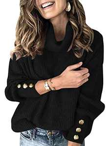 Margrine Women's Oversized Turtleneck Chunky Pullover Sweaters Cowl Neck Long Sleeve Winter Slouchy Loose Knit Sweaters Black M2A78-heise-S
