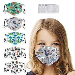 5PCS kids Bandanas Face Protective Adjustable ear loops Breathable Reusable Filters Bandanas