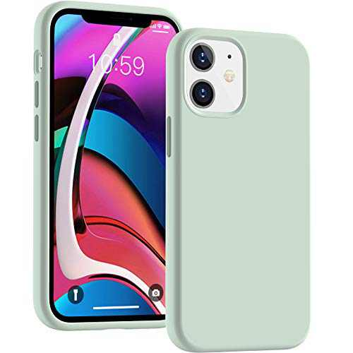 Cucell Compatible with iPhone 12 Mini case 5.4 inch(2020),Liquid Silicone Gel Rubber Full Body Protection Cover Shockproof Durable Drop Proof Shell-Mint Green
