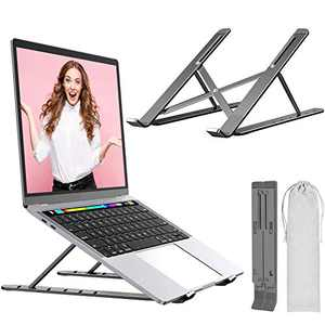 "Aneralied Laptop Stand,Aluminium Alloy Adjustable Laptop Riser Ergonomic Ventilated Portable Desktop Holder Compatible with MacBook Pro, Dell, HP, Thinkpad from 10-15.6"" Laptops"
