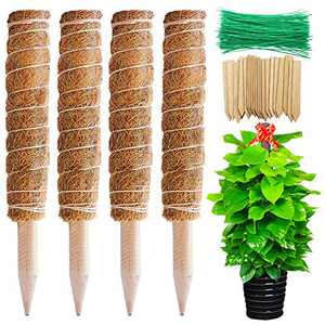 TONIAN 4 pcs 16in Coir Totem Pole with 20 pcs Plant Labels and 100 Twist Ties, Plant Support Extension for Indoor Plants Creepers Stem, Ivy and Cucumbers Stem Climbing Growth